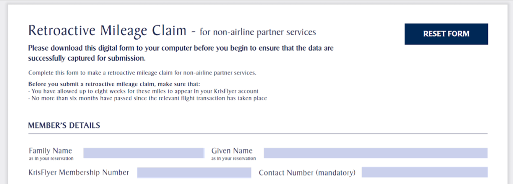Claiming miles from Singapore Airlines Krisflyer partners