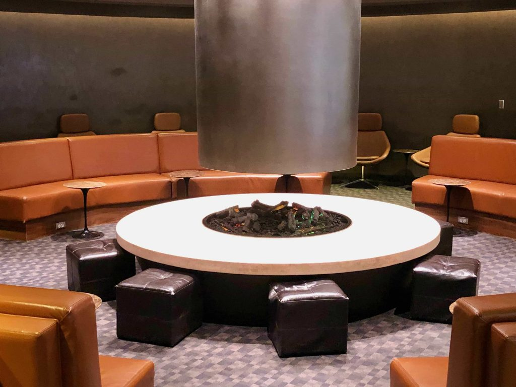 Qantas International Business Lounge Los Angeles fireplace