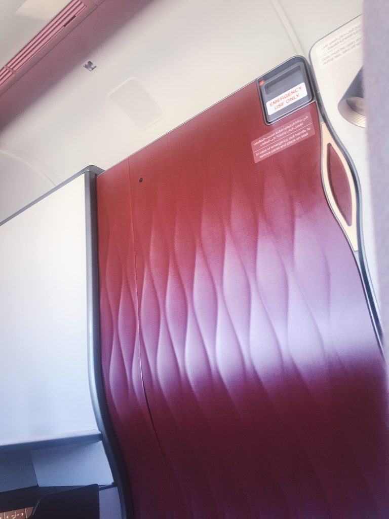 Qatar Airways Qsuite privacy door