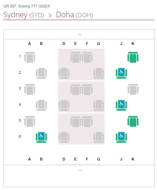 Qatar Airways Qsuite seat map
