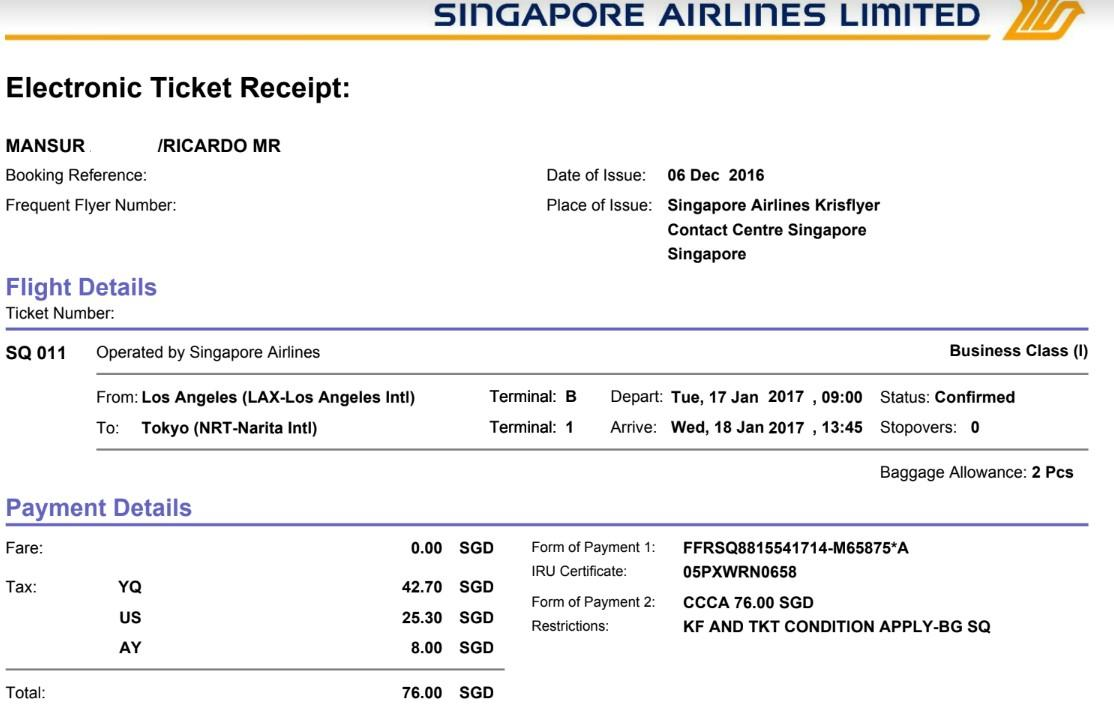Singapore Airlines Eletronic Ticket Receipt