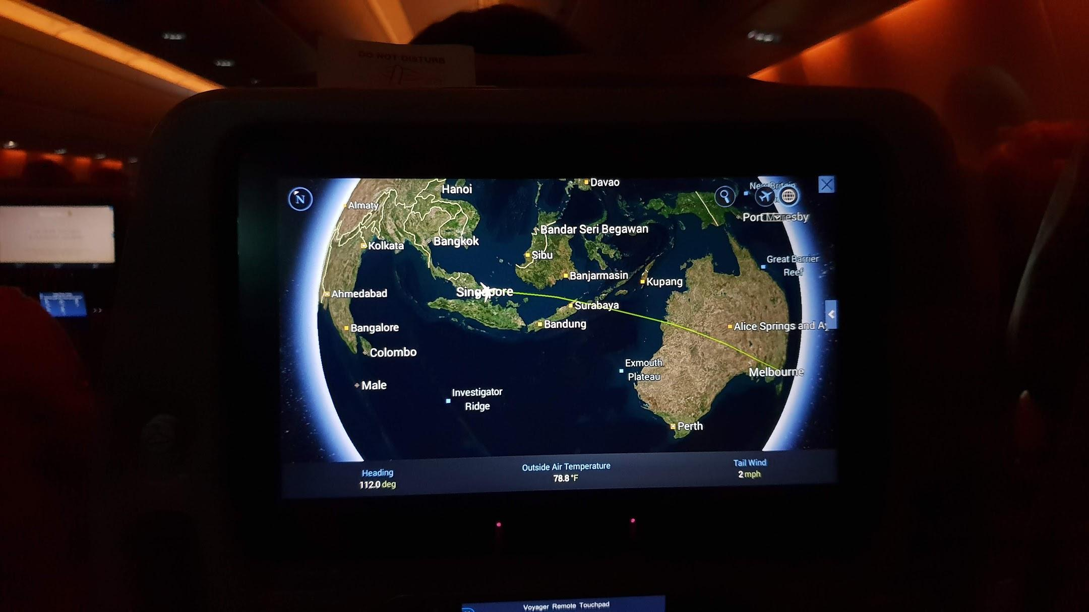 Singapore Airlines A350 Economy inflight moving map