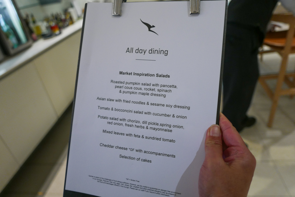 Qantas International Business Lounge Melbourne all day dining menu