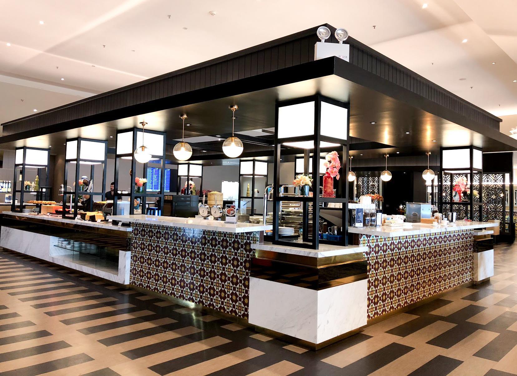 Malaysia Airlines Satellite Golden Lounge Kuala Lumpur open kitchen