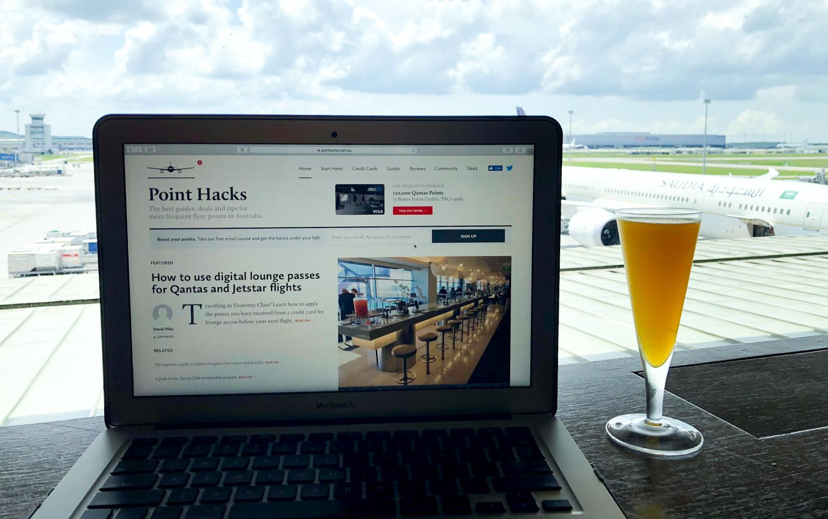 Malaysia Airlines Satellite Golden Lounge Kuala Lumpur working with a view and mimosa