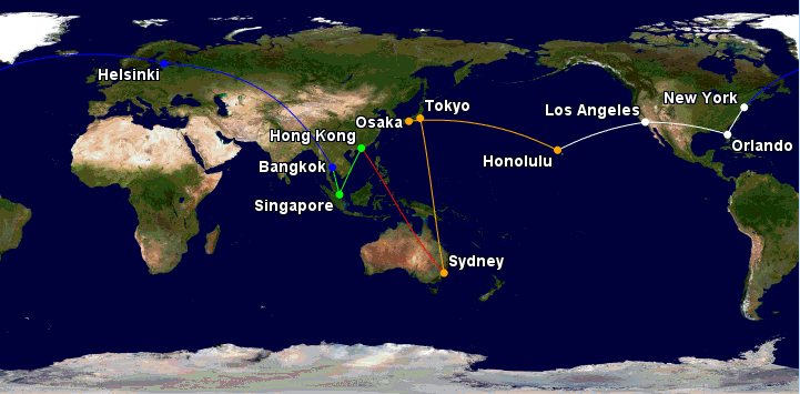 full itinerary of the Qantas oneworld Classic Reward all in Business Class