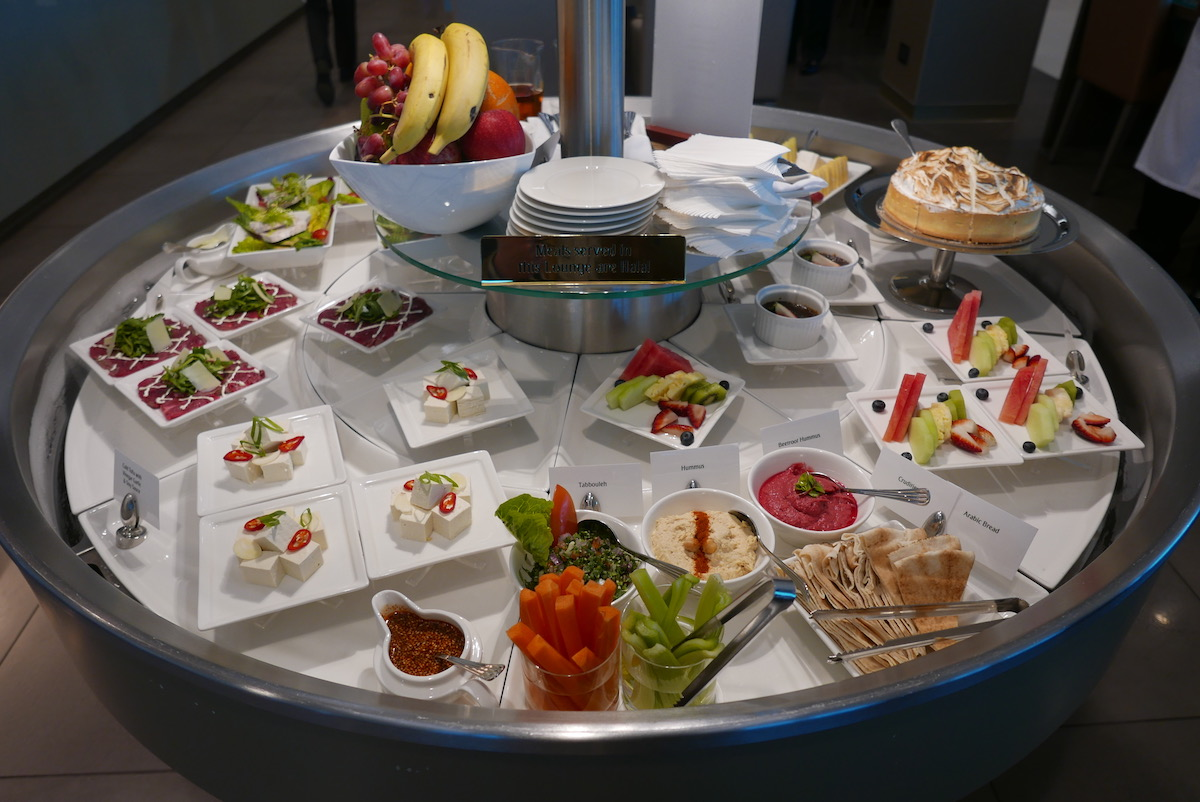 The Emirates Business & First Class Lounge Melbourne buffet food