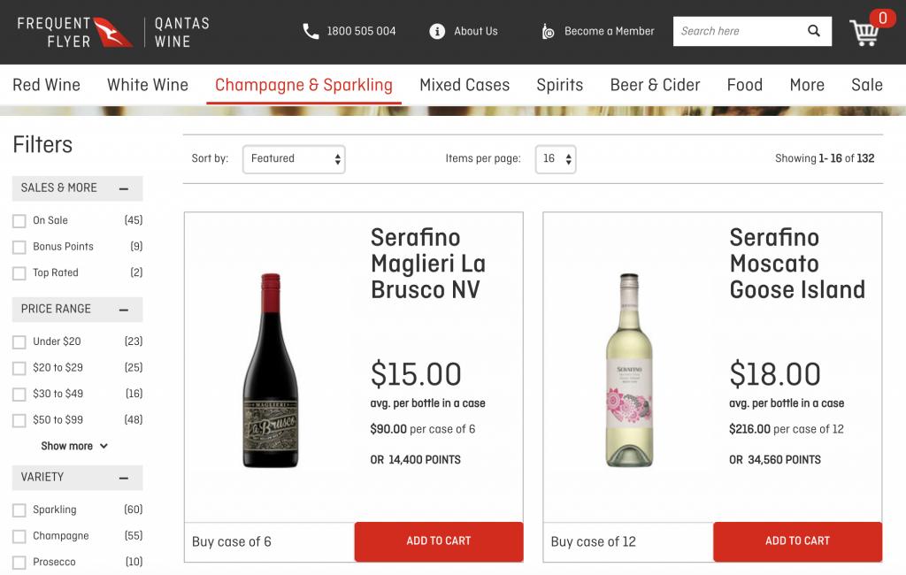 Qantas Wine screenshot