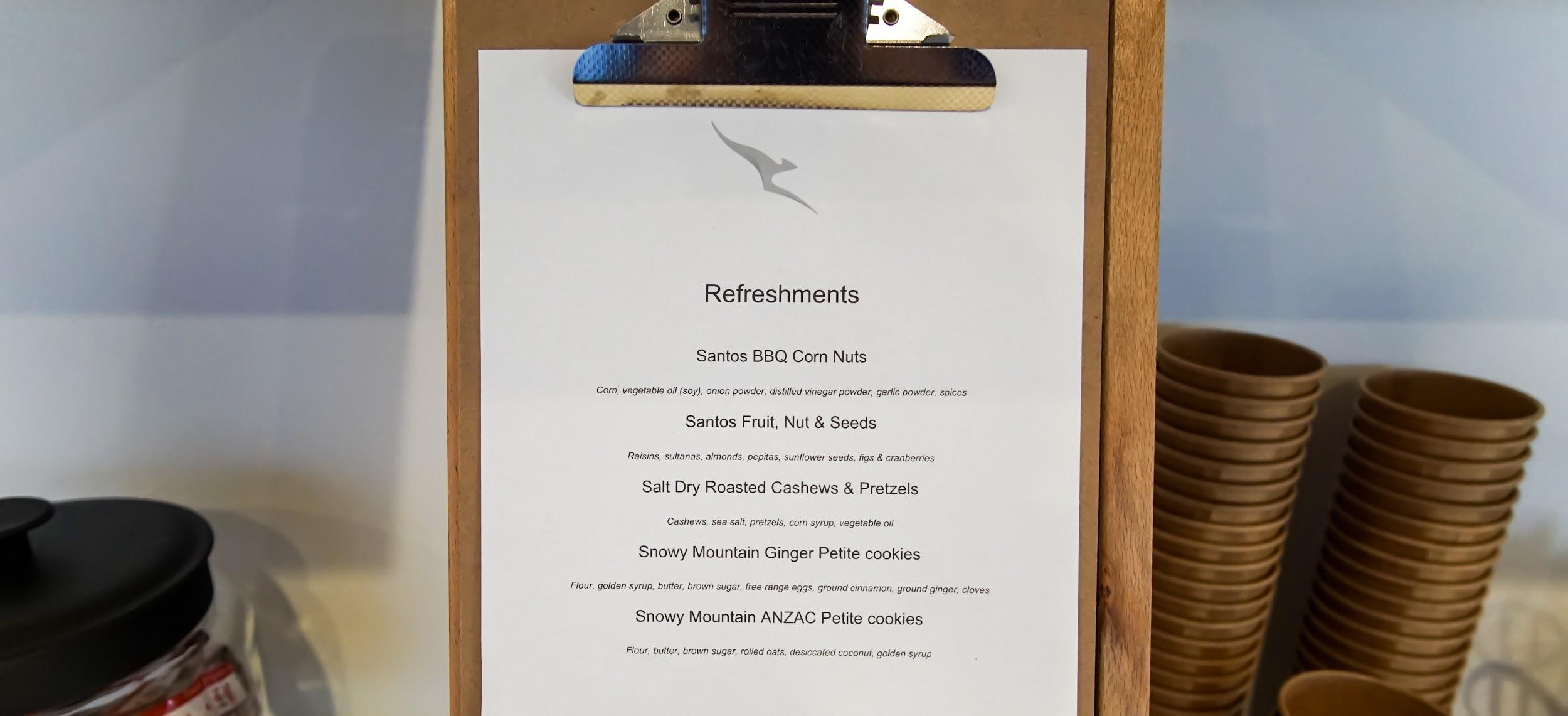 Qantas Regional Lounge Launceston refreshments