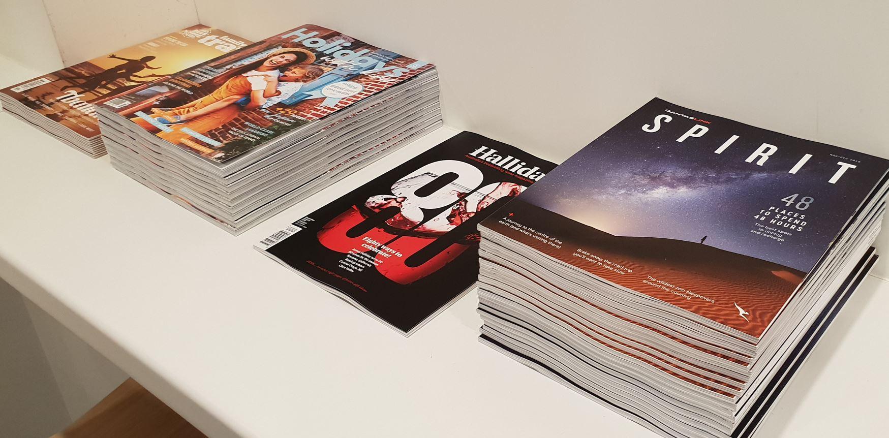 Qantas Regional Lounge Launceston reading materials