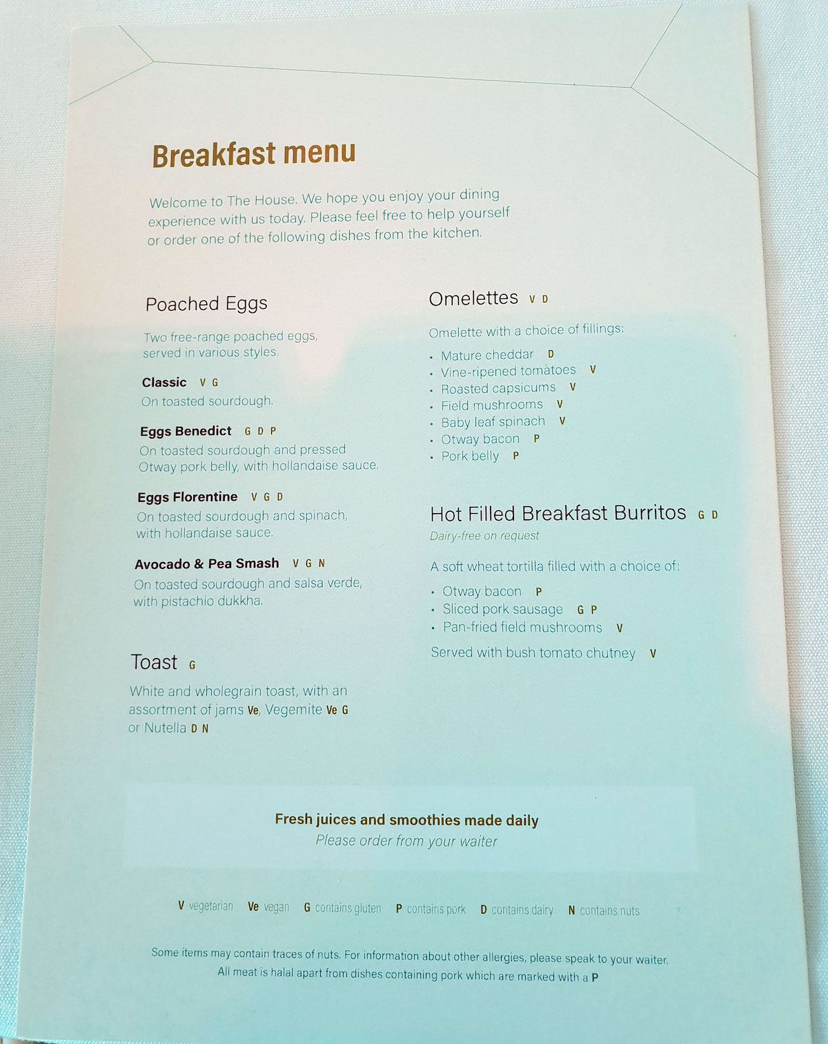 'The House' Melbourne Lounge breakfast menu