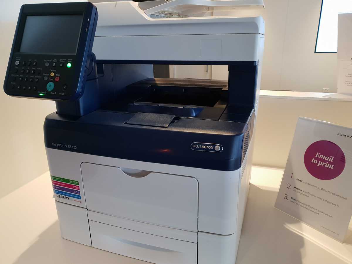Air New Zealand Lounge printer for guests