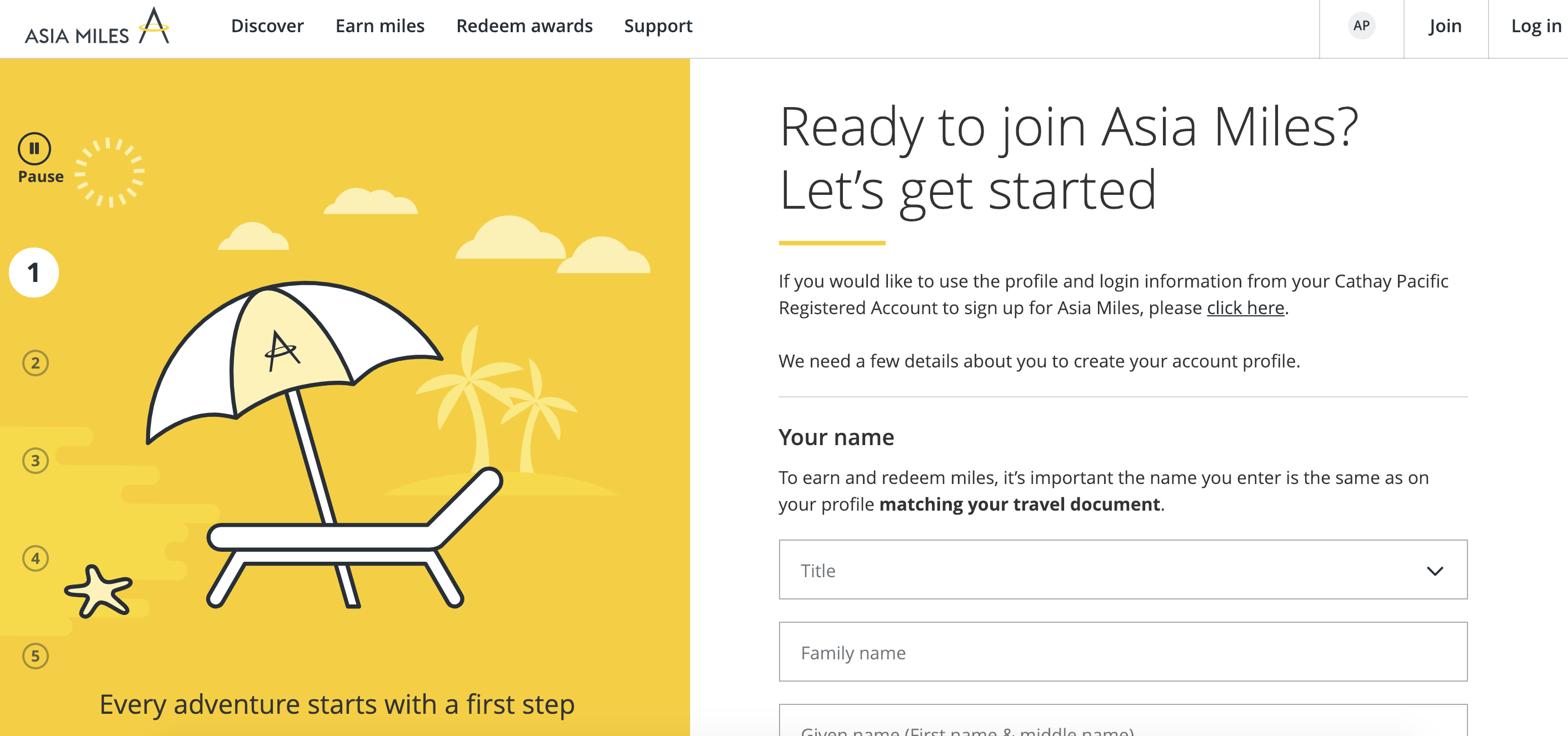 Asia Miles sign up