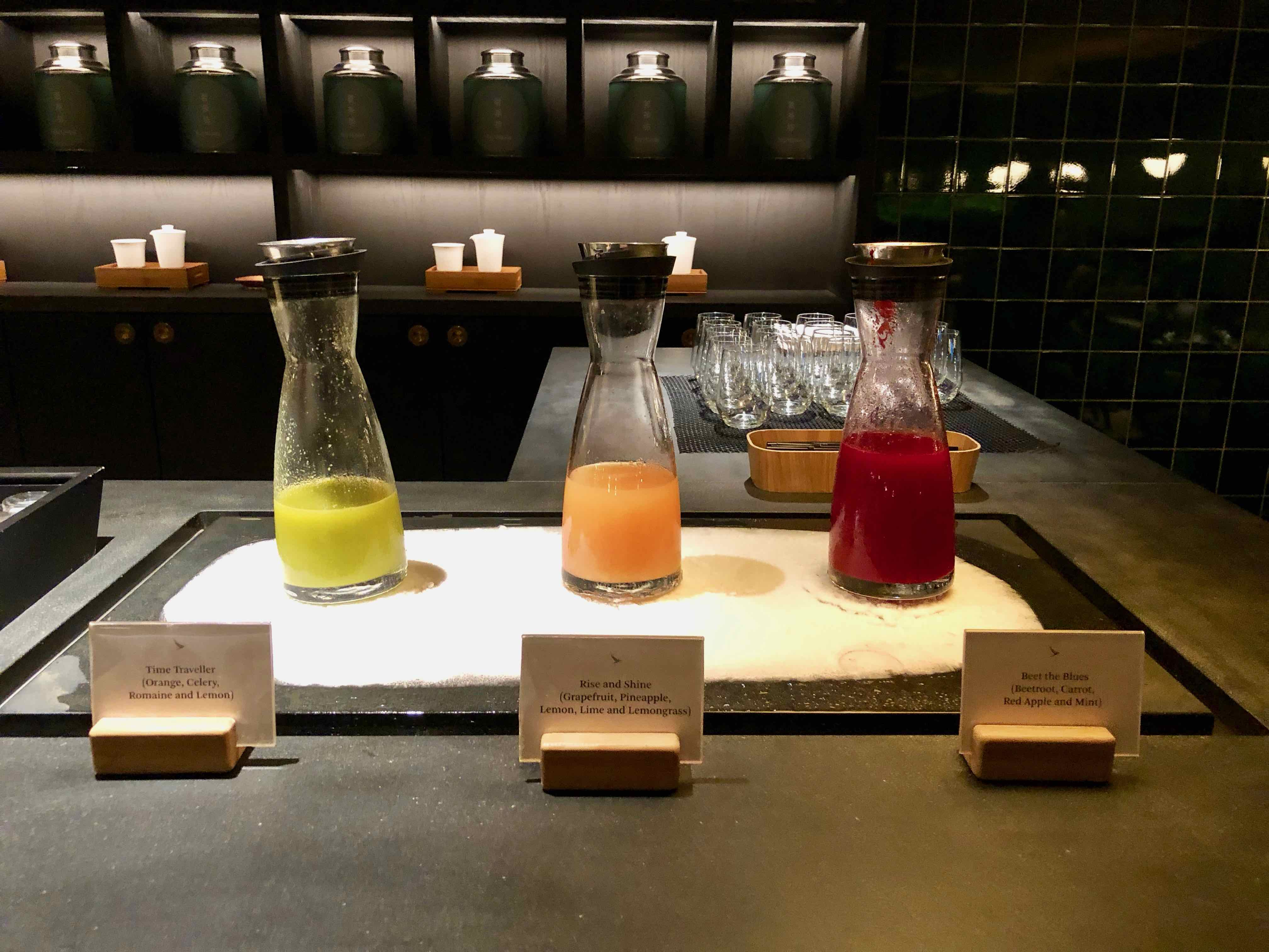 Cathay Pacific The Pier Business Class Lounge Hong Kong natural juice