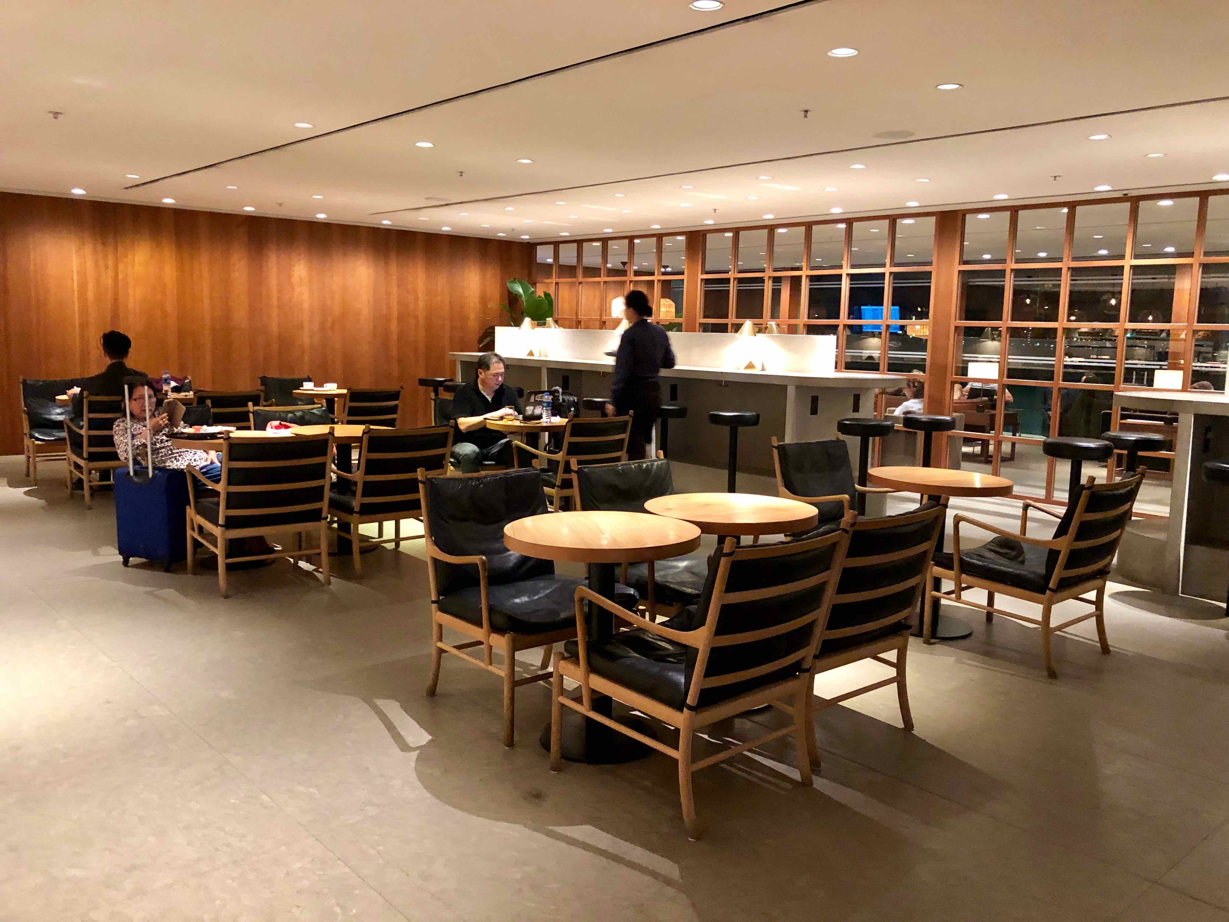 Cathay Pacific The Pier Business Class Lounge Hong Kong seating option