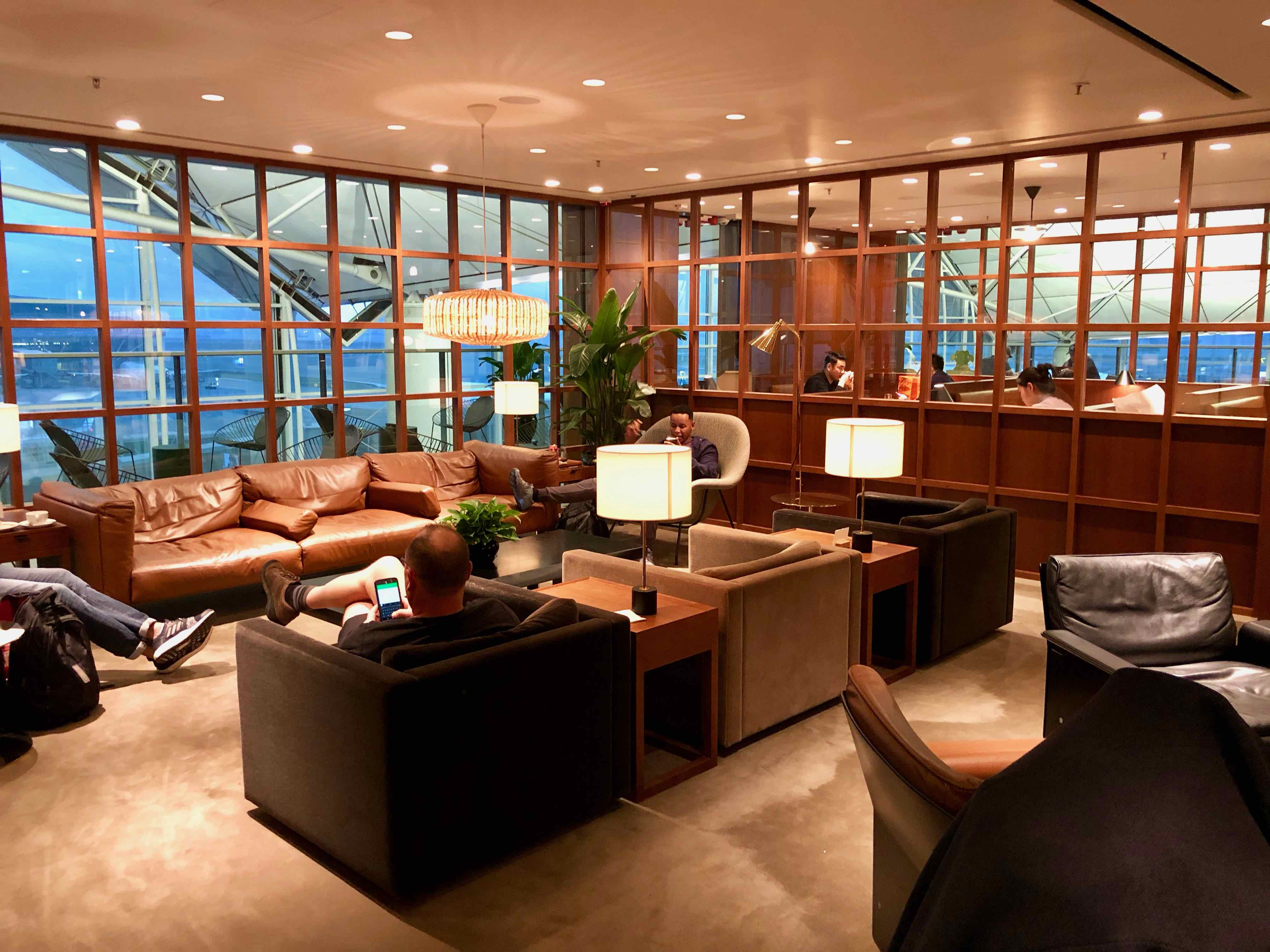 Cathay Pacific The Deck Business Class Lounge Hong Kong main lounging area