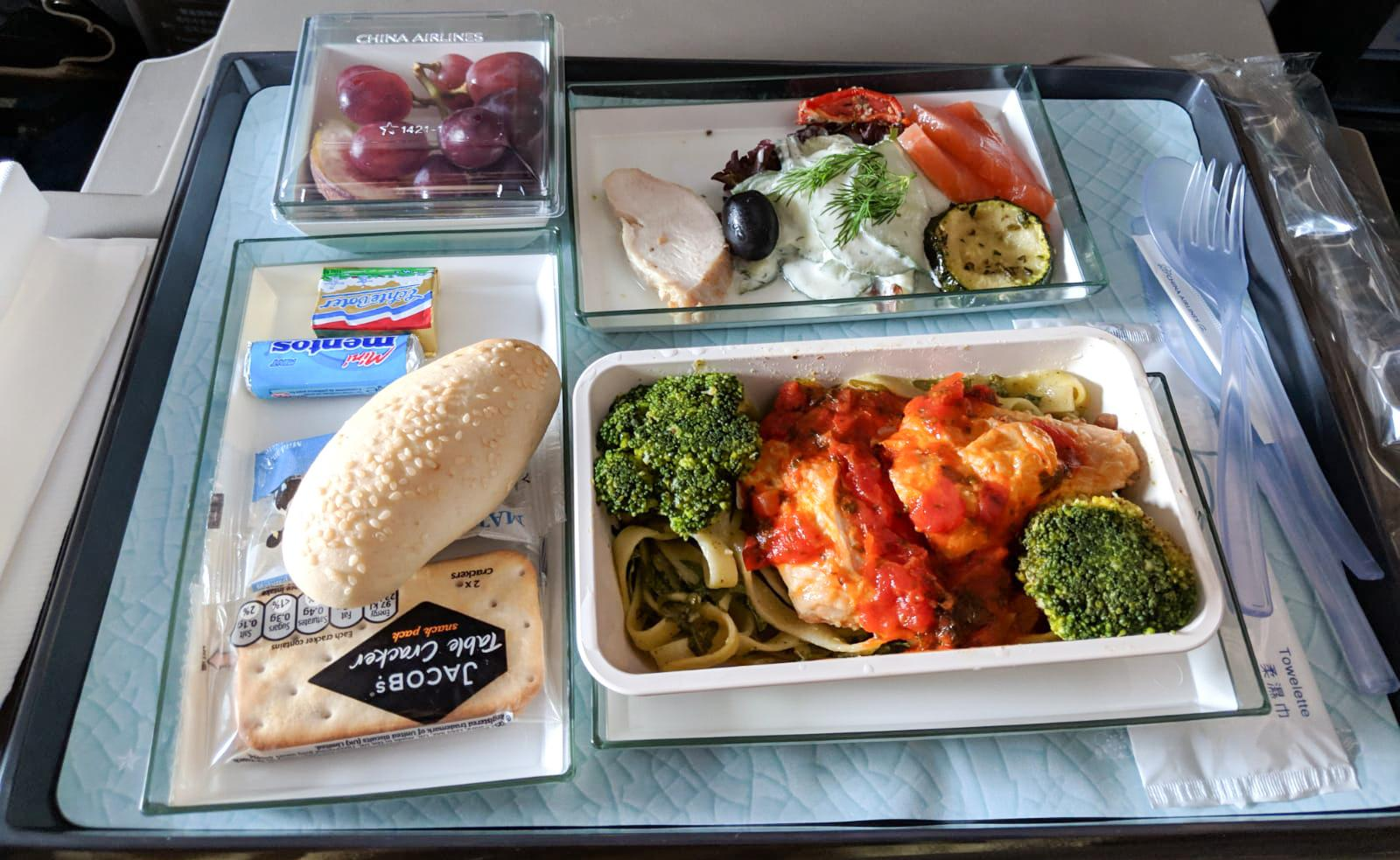 China Airlines A350 Premium Economy food