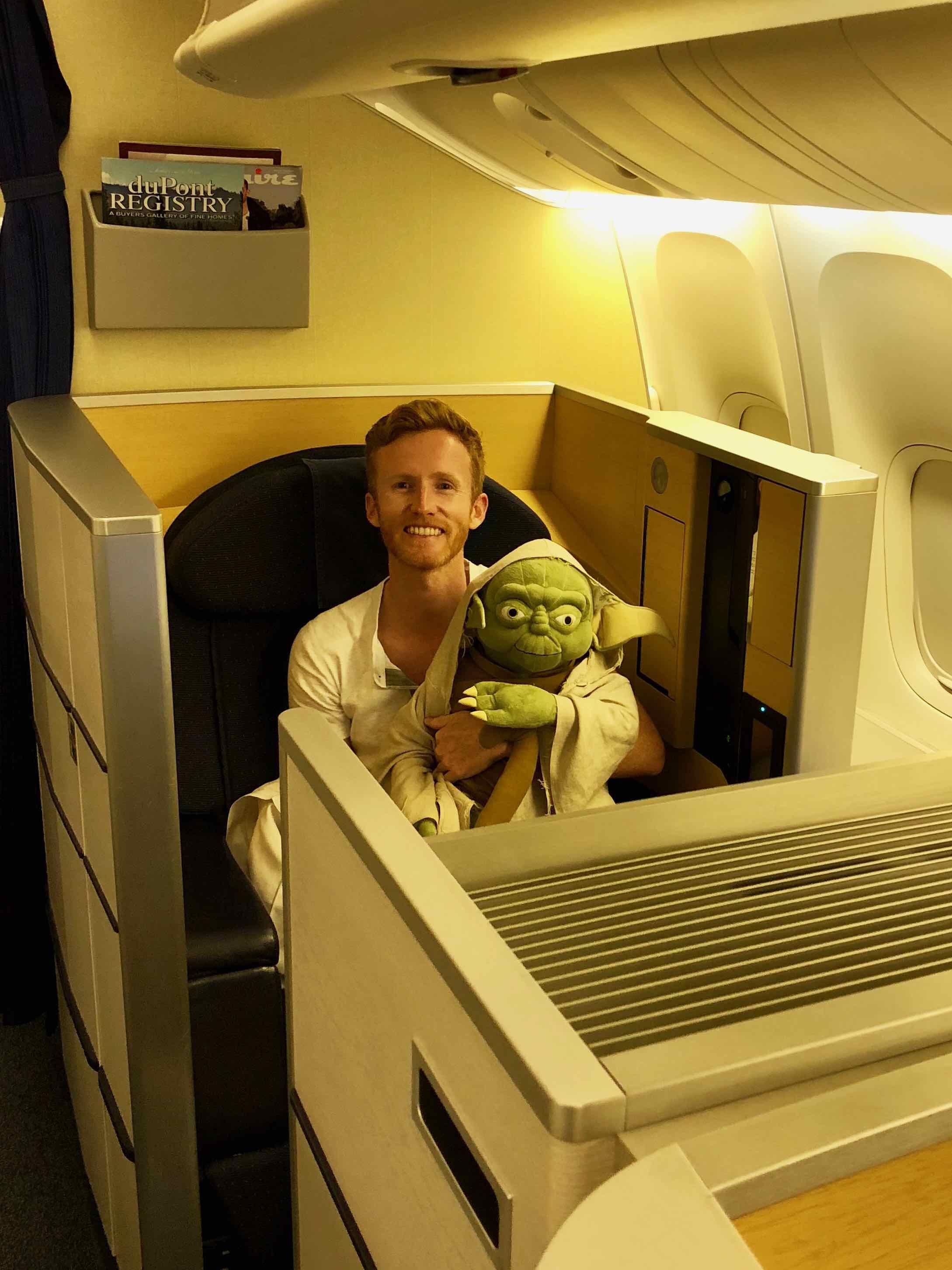 Matt and Yoda on ANA 777 First Class