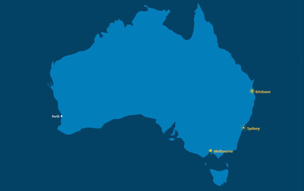 Screenshot of ANZ Rewards Travel Adventures card free flight interactive map