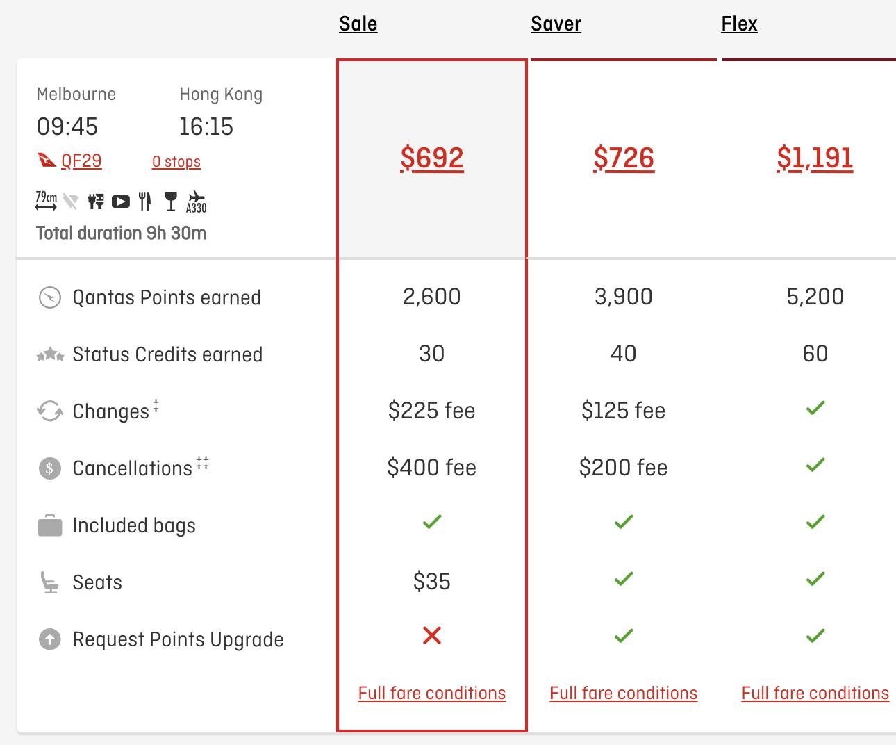 Qantas fare prices
