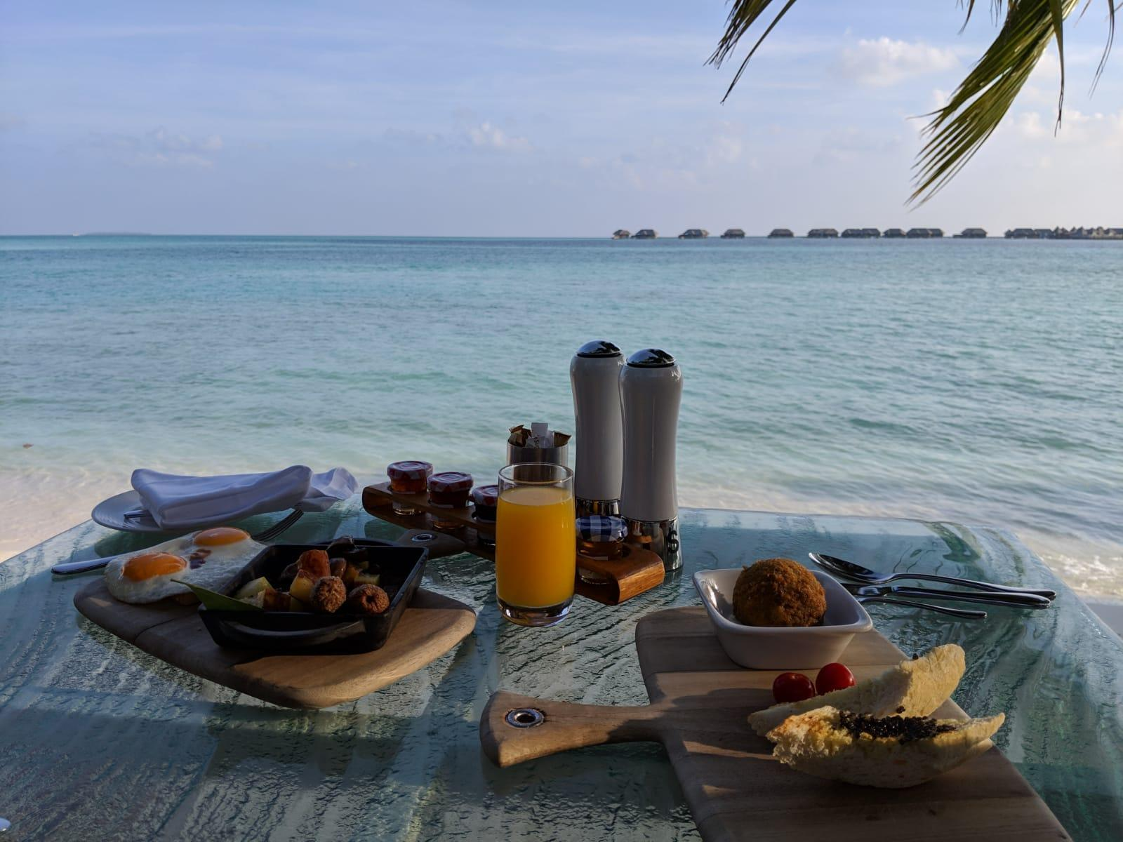 Conrad Rangali Maldives breakfast at Vilu with a view