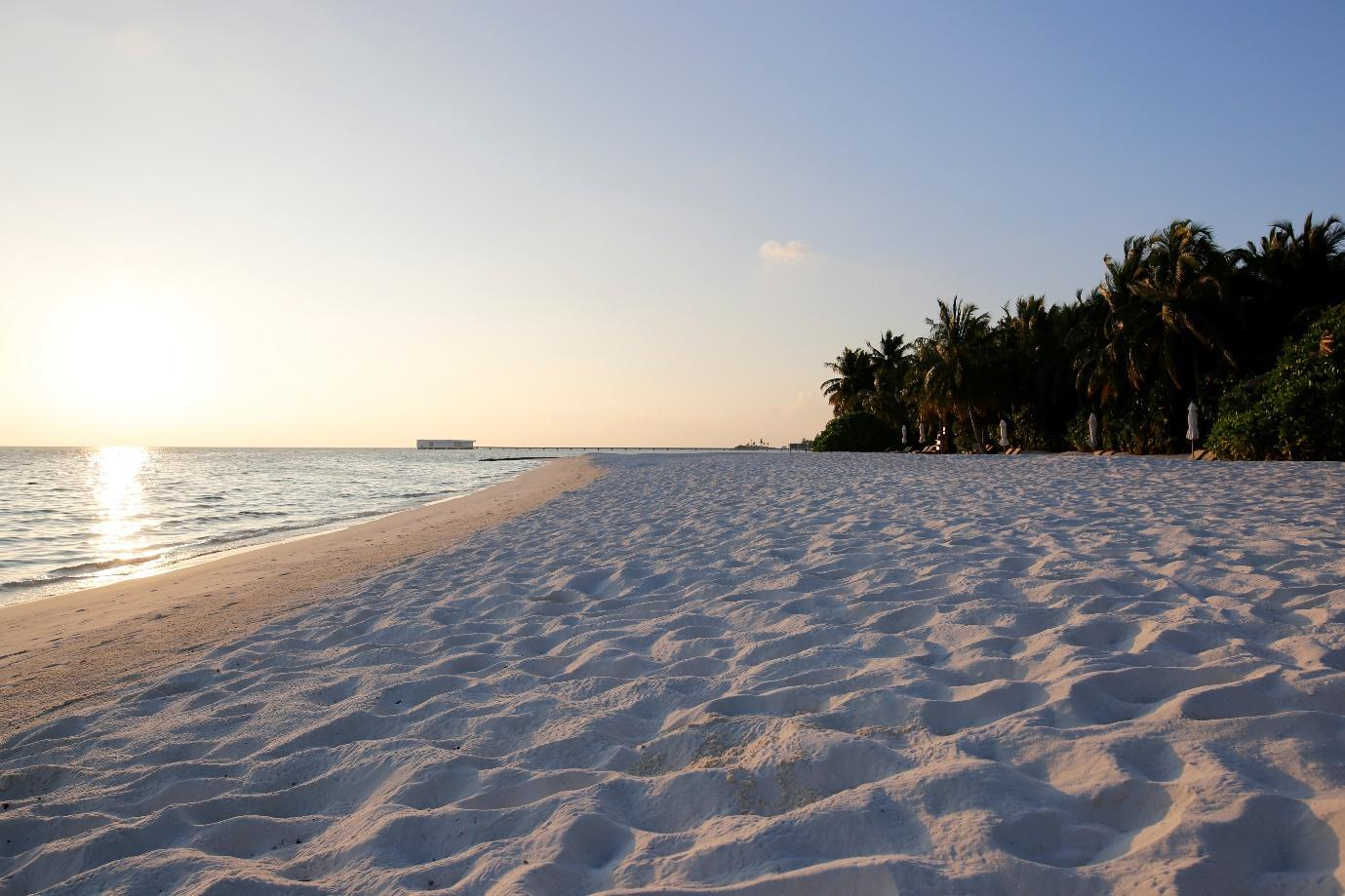 Conrad Rangali Maldives Beach Suite early morning beach view