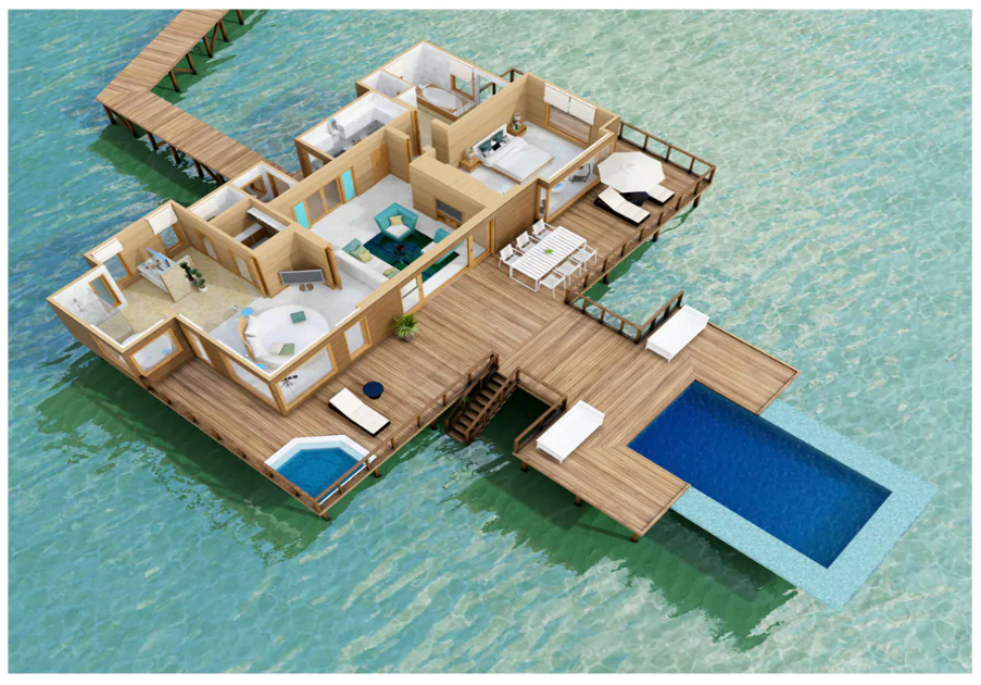 Conrad Rangali Maldives Sunset Water Villa floorplan