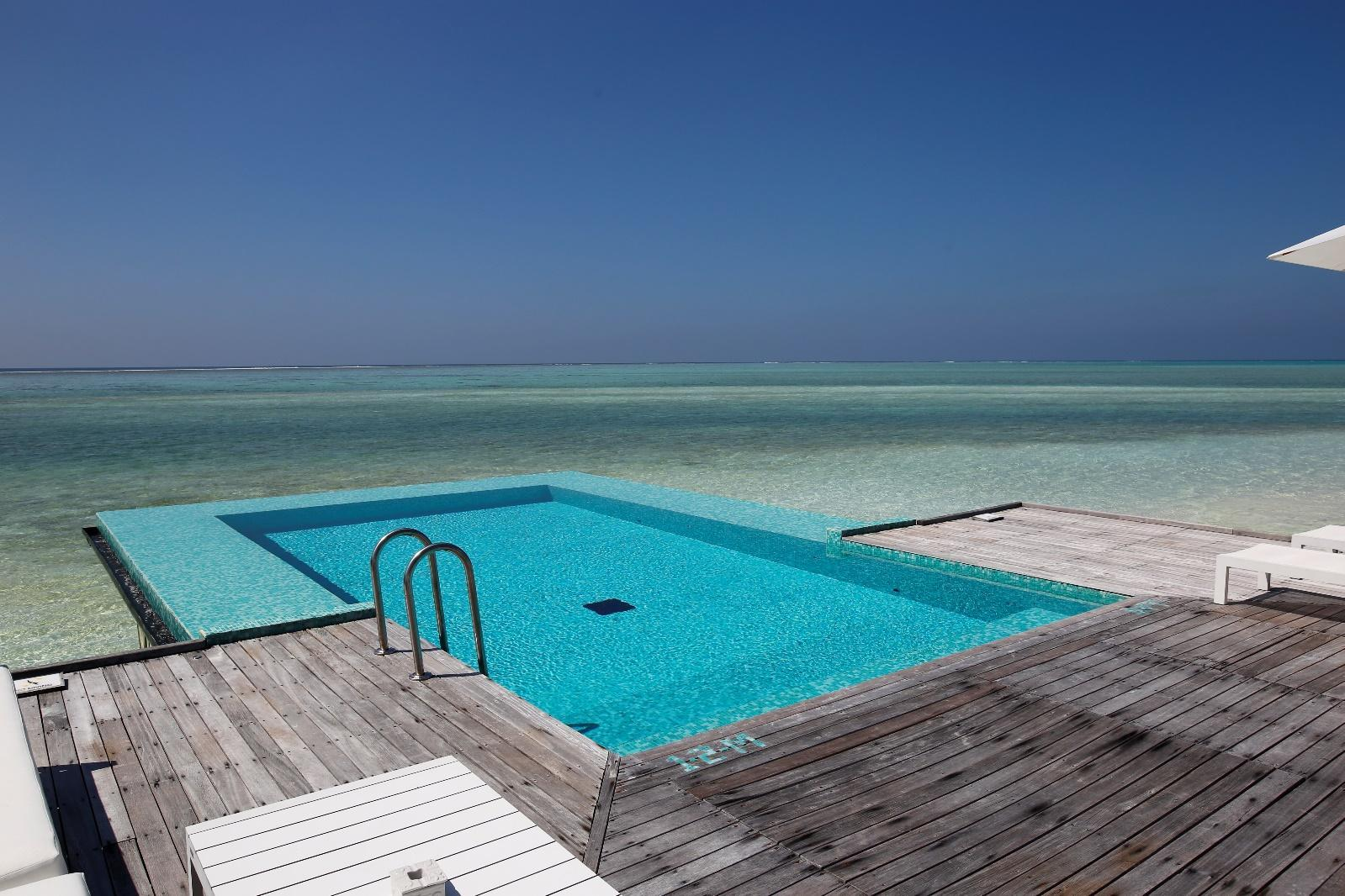 Conrad Rangali Maldives Sunset Water Villa infinity pool