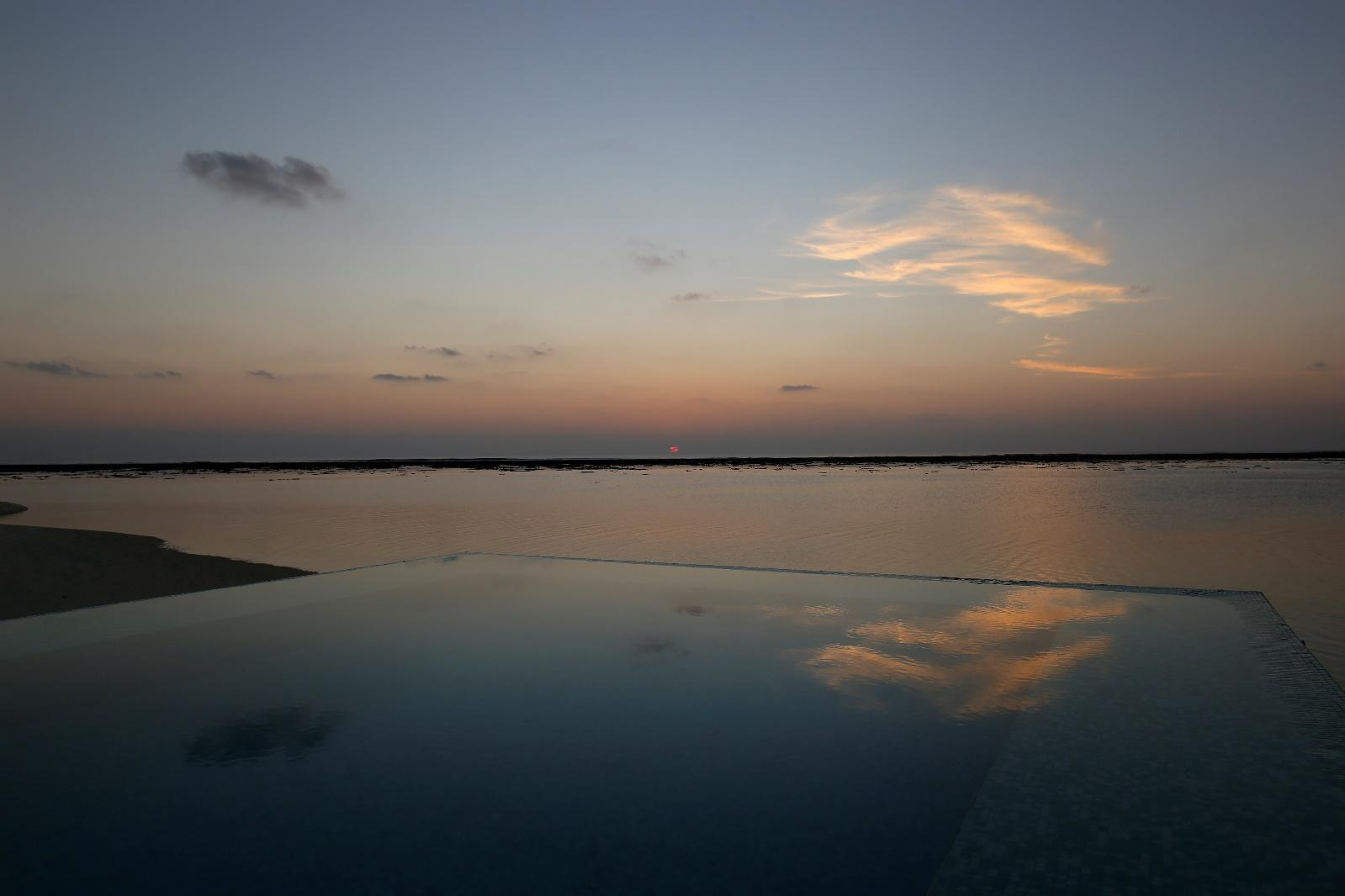 Conrad Rangali Maldives Sunset Water Villa infinity pool sunset view