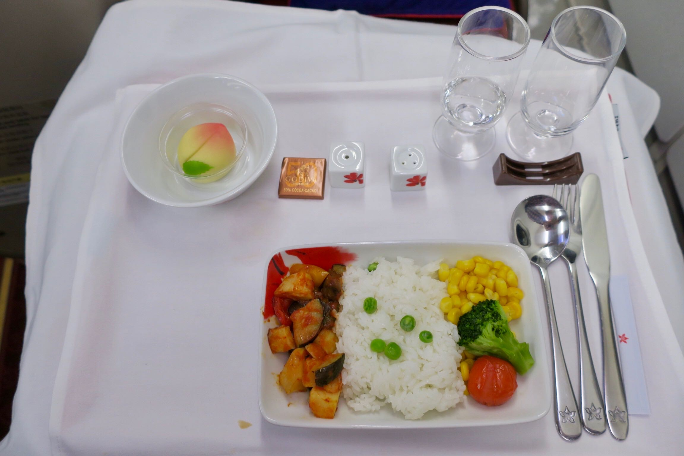 Hong Kong Airlines A330 Business Class meal