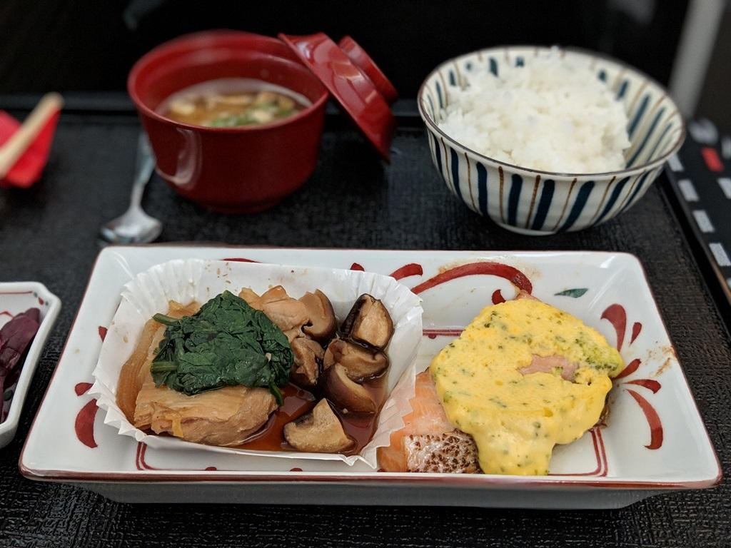 Japan Airlines 787 Business Class Grilled Salmon