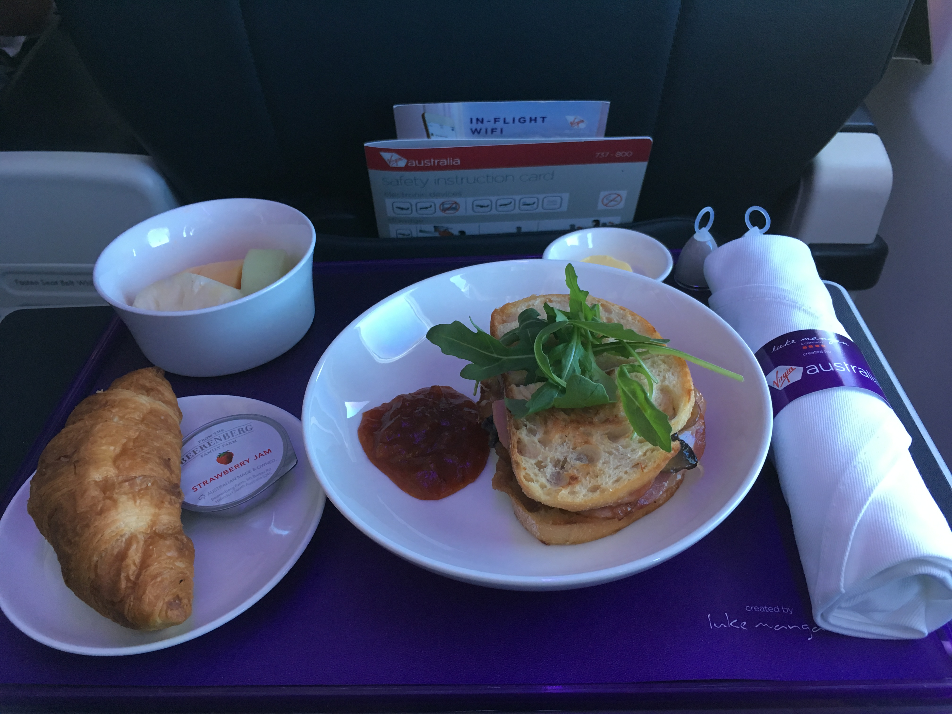 Virgin Australia Business Class breakfast
