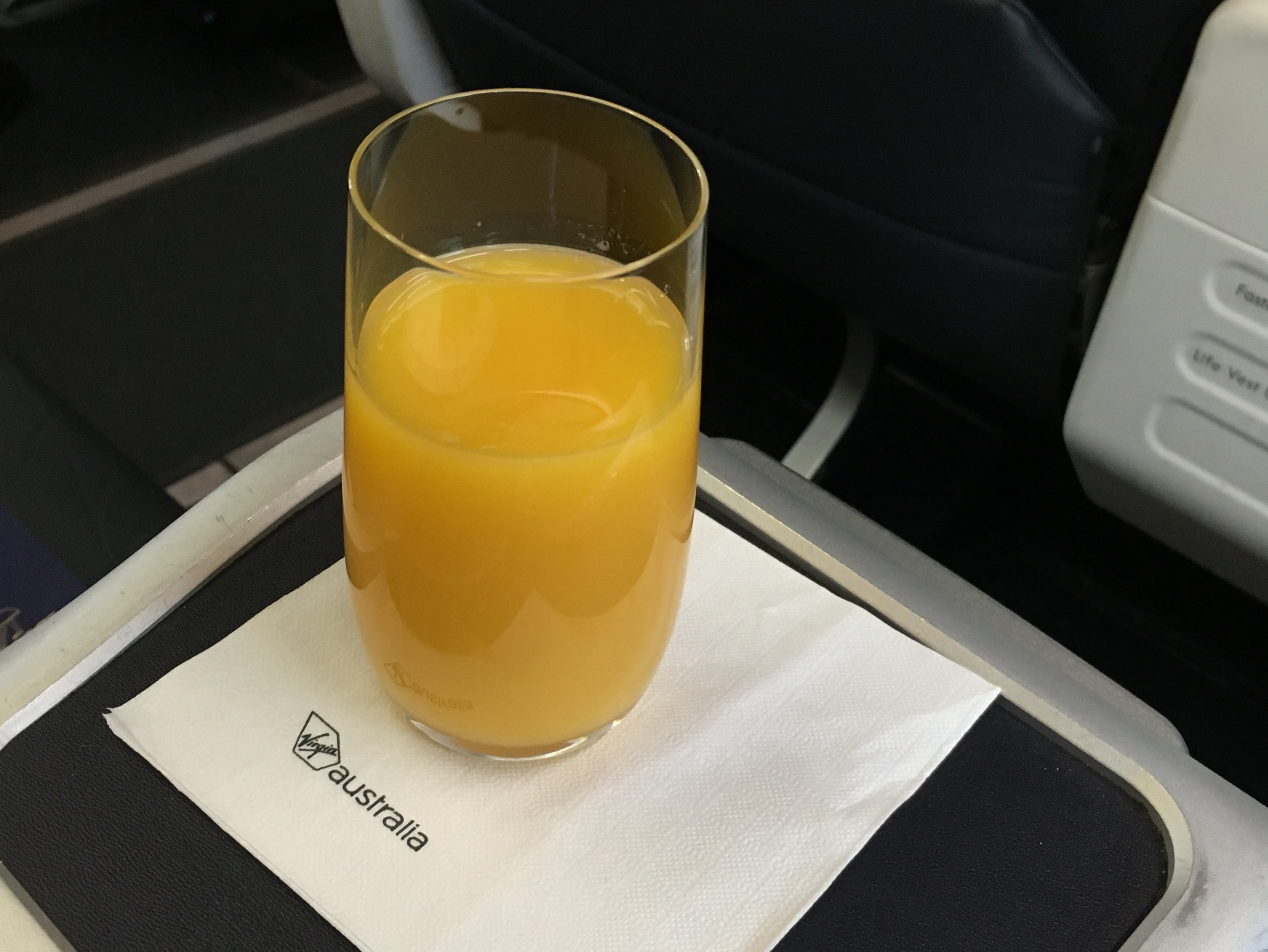 Virgin Australia pure orange juice
