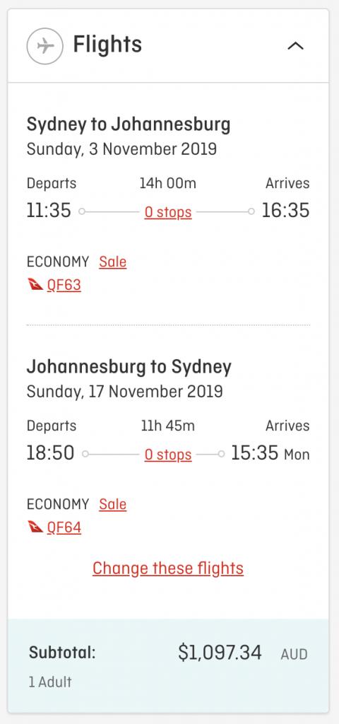 Qantas flight deal Sydney to Johannesburg 2019