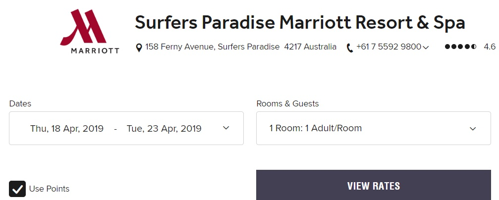 Booking redemptions for Surfers Paradise Marriott Resort & Spa