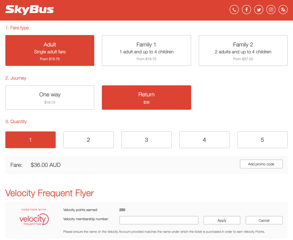 SkyBus Velocity booking page