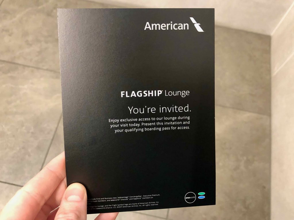American Airlines Flagship Lounge invitation