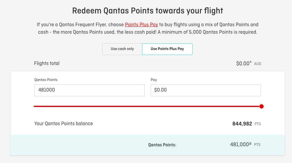 Qantas Any Seat Award Points plus Pay booking