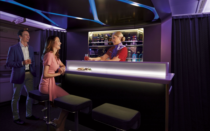 Virgin Australia 777 onboard bar