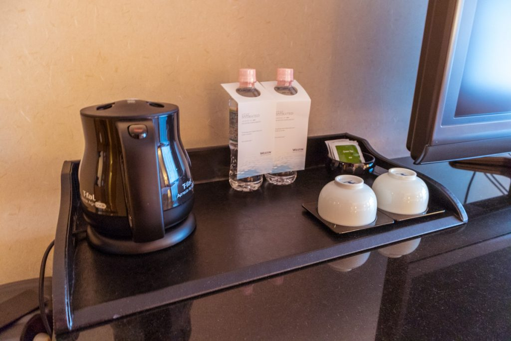 Westin Miyako Kyoto Deluxe Garden View room kettle and water