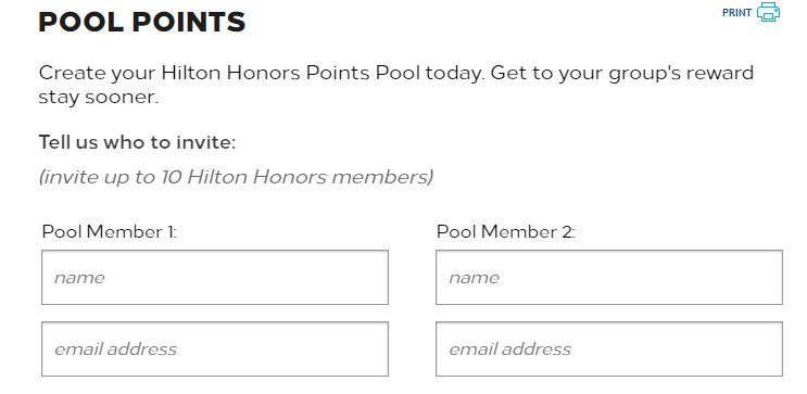 Pooling Hilton Honors points