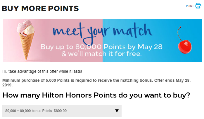 Hilton Honors buy points