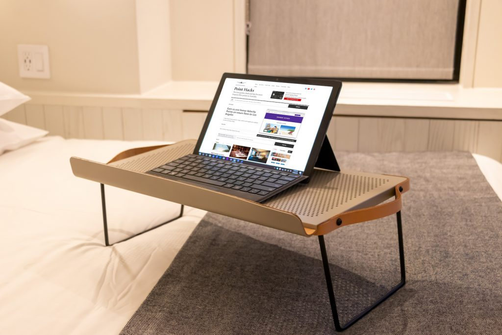 Moxy New York Times Square Bedroom laptop stand