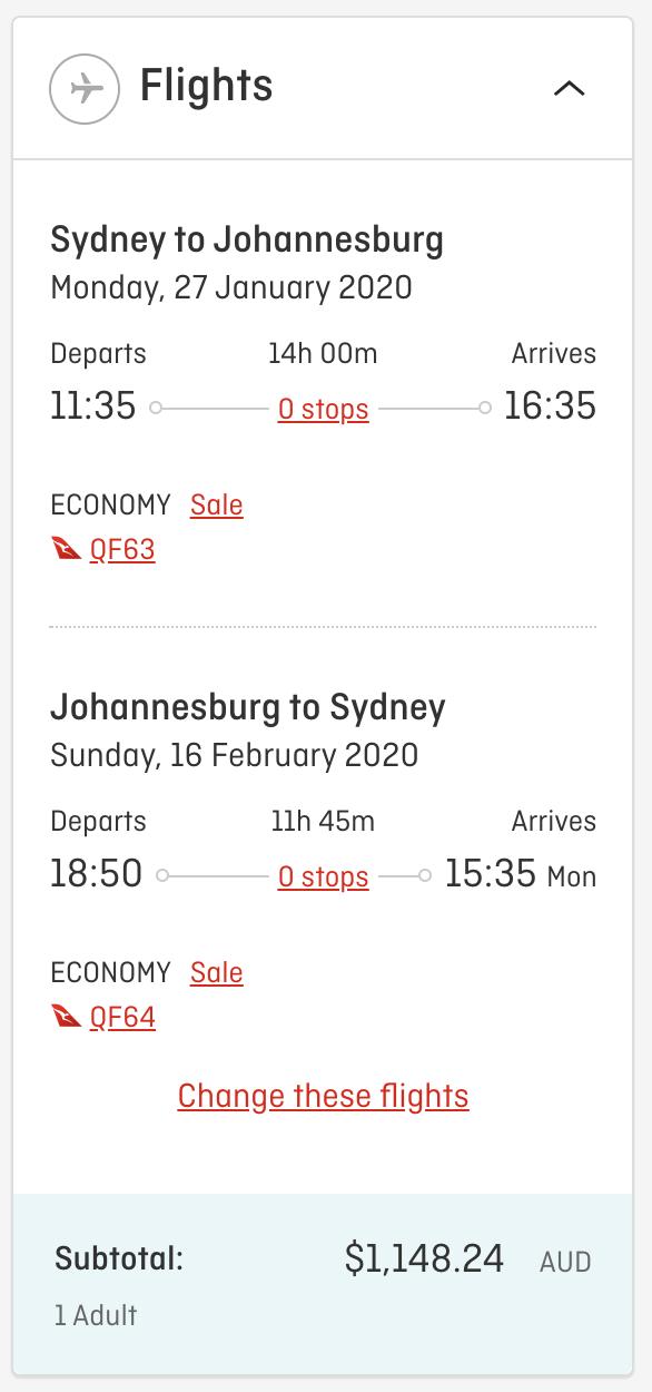Qantas Flight Deal South Africa Jul 2019