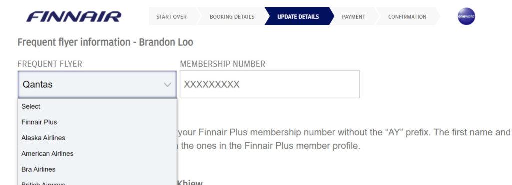 Qantas Change FF Number Finnair