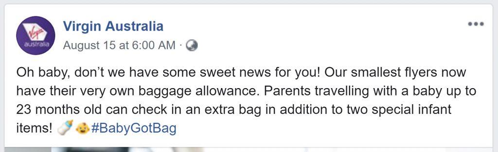 Virgin Australia infant allowance
