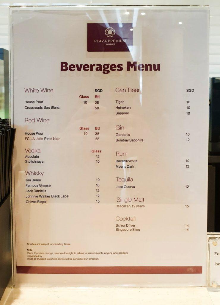 Plaza Premium Lounge Singapore beer