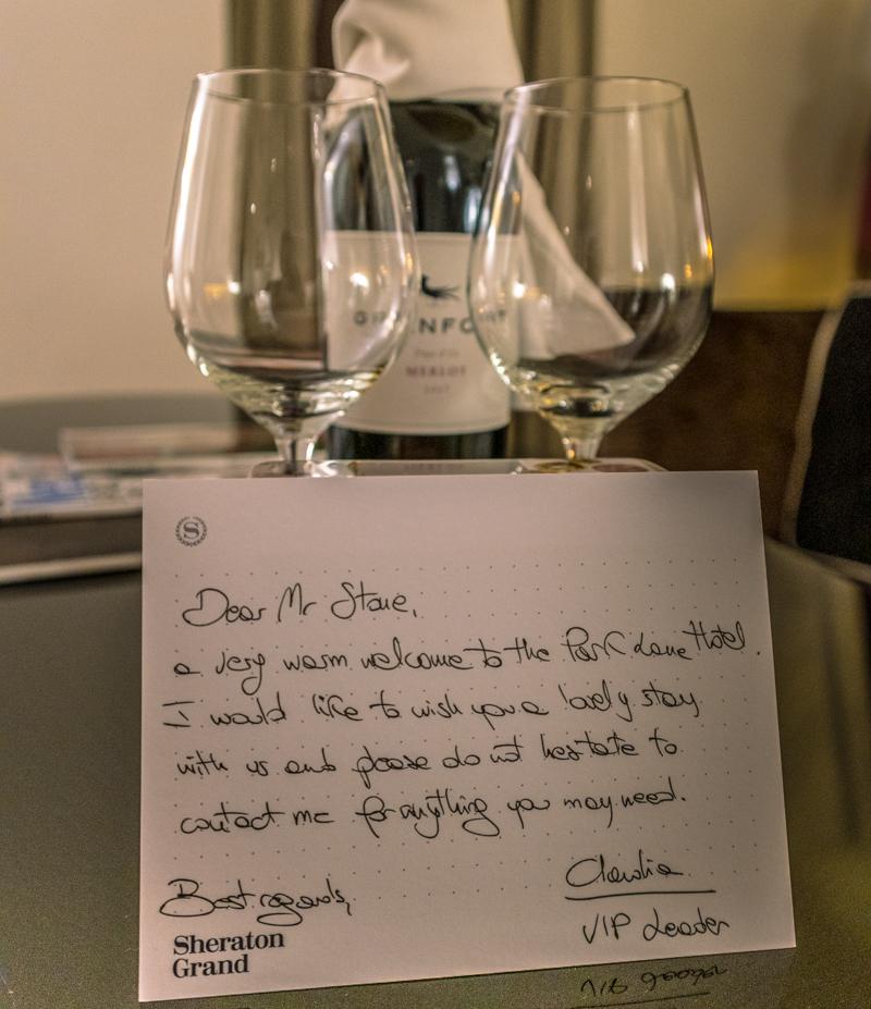 Sheraton Grand London Park Lane - welcome note