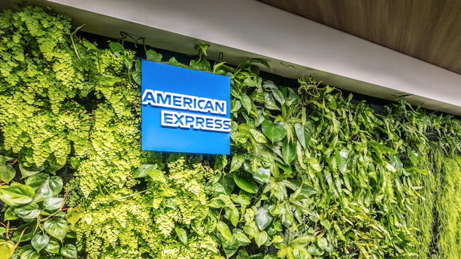 American Express green wall