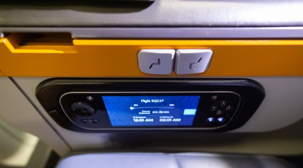 Singapore Airlines Premium Economy touchscreen control